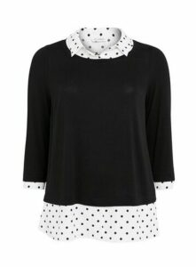 Black Polka Dot 2 In 1 Top, Black