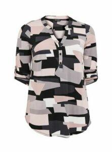 Pink Geo Print Jersey Shirt, Dark Multi