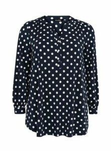 Navy Polka Dot Jersey Shirt, Navy/White