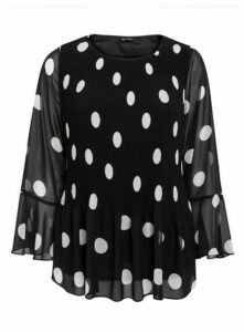 Black Pleated Polka Dot Top, Black