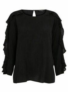 Black Ruffle Sleeve Top, Black
