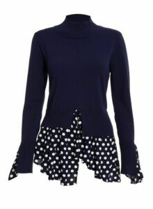 Womens *Quiz Navy Polka Dot Print Layer Jumper- Blue, Blue