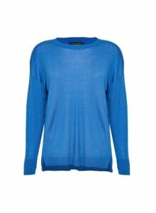 Womens Blue Fine Knit Crew Neck Jumper, Blue