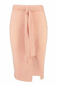 Womens Plus Rib Belted Wrap Midi Skirt - pink - 20, Pink