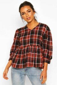 Womens Petite Volume Sleeve Check Smock Top - black - 14, Black