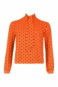 Womens Pussy Bow Polka Dot High Neck Blouse - Orange - 14, Orange