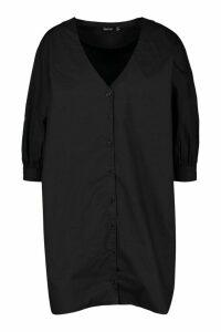 Womens Volume Sleeve Cotton Shirt Dress - Black - 18, Black