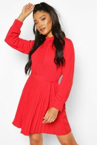Womens Pleated High Neck Tie Waist Shift Dress - Red - 16, Red