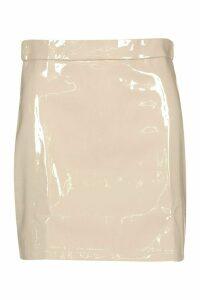 Womens High Shine Vinyl A Line Mini Skirt - Beige - 16, Beige