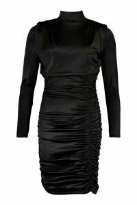 Womens Satin Ruched Belted Mini Dress - black - M, Black