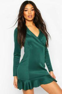 Womens Fishtail Wrap Mini Tailored Dress - Green - 12, Green