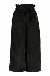 Womens Paperbag Waist Wide Leg Culottes - Black - 16, Black