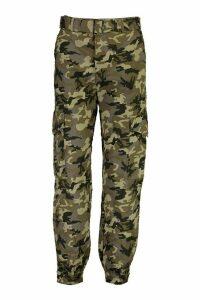 Womens Camo Cotton Twill Cargo Trousers - green - M, Green