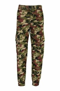 Womens Camo Cotton Twill Cargo Trousers - brown - M, Brown