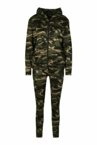 Womens Side Stripe Camo Jogger Set With Hooded Top - Green - M, Green