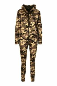 Womens Side Stripe Camo Jogger Set With Hooded Top - Green - S, Green