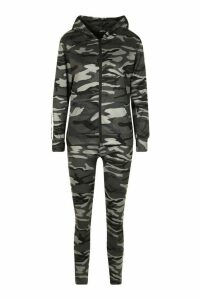 Womens Side Stripe Camo Jogger Set With Hooded Top - grey - M, Grey