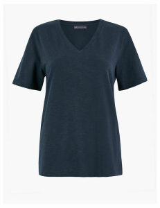 M&S Collection Pure Cotton V-Neck Straight Fit T-Shirt