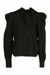 Womens Pussybow Blouse With Sleeve Pleat Detail - Black - 12, Black