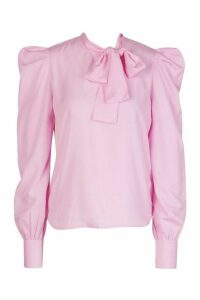 Womens Pussybow Blouse With Sleeve Pleat Detail - Pink - 12, Pink