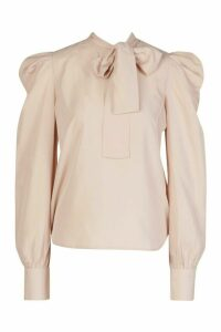Womens Pussybow Blouse With Sleeve Pleat Detail - Beige - 14, Beige