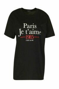 Womens Paris French Slogan T-Shirt - Black - M, Black