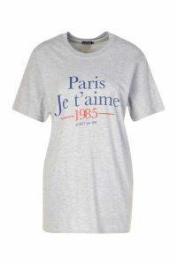 Womens Paris French Slogan T-Shirt - Grey - S, Grey