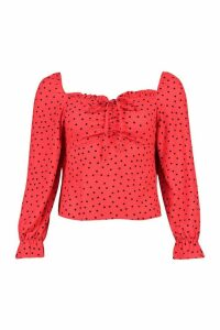 Womens Heart Print Blouse - Red - 8, Red