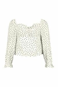 Womens Heart Print Blouse - White - 12, White