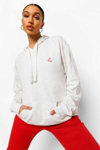 Womens Rose Pocket Embroidered Oversized Hoodie - cream - 16, Cream
