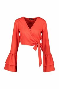 Womens Wrap Tierred Sleeve Blouse - 14, Red