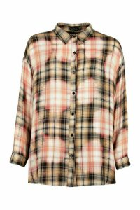 Womens Checked Bleached Oversized Shirt - Beige - 10, Beige