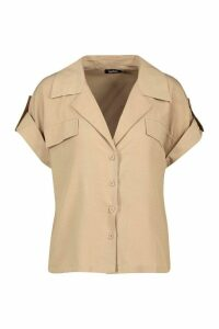 Womens Woven Pocket Detail Utility Shirt - beige - 12, Beige