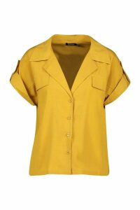 Womens Woven Pocket Detail Utility Shirt - yellow - 8, Yellow