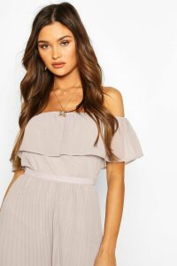 Womens Chiffon Ruffle Off Shoulder Mix And Match Top - Grey - 12, Grey