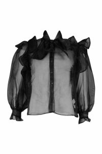 Womens Organza Ruffle Detail Pussybow Blouse - black - 6, Black