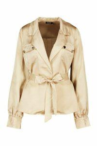 Womens Utility Satin Shirt - beige - 12, Beige