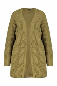 Womens Tall Chunky Fisherman Knit Cardigan - Green - S/M, Green