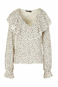 Womens Heart Print Ruffle Detail Blouse - White - 12, White