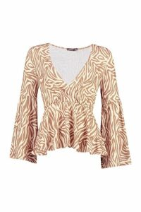 Womens Wrap Front Top With Bell Sleeves - beige - 14, Beige