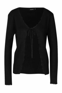 Womens Knitted Tie Front Cardigan - black - M, Black