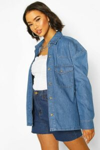 Womens Oversized Mock Horn Denim Shirt Shacket - blue - 16, Blue