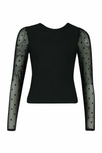Womens Dobby Mesh Long Sleeved Top - black - 8, Black