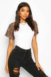 Womens Tall Leopard Print Sleeve T-Shirt - White - 8, White