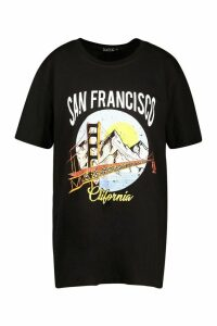 Womens Tall 'San Francisco' Slogan T-Shirt - Black - M, Black