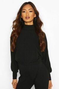 Womens roll/polo neck Batwing Top - black - 12, Black