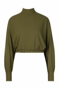 Womens roll/polo neck Batwing Top - green - 12, Green
