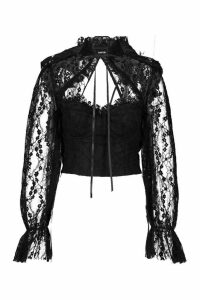 Womens Lace Cut Out Tie Detail Blouse - black - 6, Black