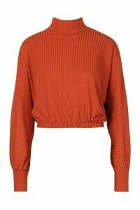 Womens roll/polo neck Batwing Top - orange - 12, Orange
