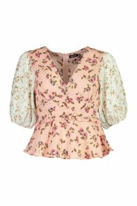 Womens Woven Ruched Floral Print Peplum Top - Pink - 12, Pink